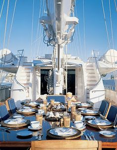 dinner party on the sailboat.