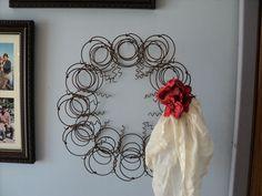 Old Bed Springs Rusty Primitive Wreath Vintage Handkerchief Bow Americana | eBay