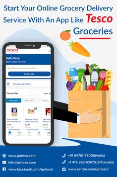 In today's tech world, most people prefer to buy their daily needed food items using a reliable grocery shop app like Tesco Groceries. This preference of buyers towards the app has inspired business owners to invest in grocery app development. If you also want to get Tesco Groceries app clone for your business, you can share your queries with us. #goteso #app #appdevelopment #grocery #grocerybusiness #mobileappdevelopment #softwaredevelopment #supermarketbusiness #groceryapp #onlinegrocery Grocery Shopping App, Grocery Ads, Grocery Store, App Development Companies, App Development Cost, Tesco Groceries, Grocery Delivery Service, Supermarket App, Visual Analytics