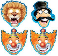 Big Top Circus Birthday Paper Masks, Pack of 8