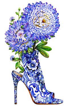 Done by my talented friend Sunny Gu! Shoe Illustration, Fashion Illustration Shoes, Fashion Illustration Sketches, Fashion Sketches, Garden Illustration, Beauty Illustration, Periwinkle Blue, Purple Roses, Blue Flowers