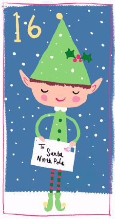 Elf sending letter to Santa Claus Merry Little Christmas, Christmas Crafts For Kids, Christmas Countdown, Christmas Elf, Christmas Printables, Christmas Greetings, Winter Christmas, Christmas Cards, Advent Calendars For Kids