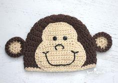 Crochet Monkey Hat Pattern - free crochet pattern - baby hats - make your own hat Crochet Summer Hats, Crochet For Boys, Crochet Baby Hats, Baby Knitting, Free Crochet, Crochet Monkey Hat, Crochet Beanie Hat, Crochet Hippo, Headband Crochet