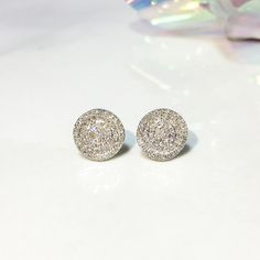 A little #sparkle never hurt... 14K White #Gold Pave #Diamond Circle Earrings. Click here: http://sagedesignsla.com/0-21-ct-14k-white-gold-pave-diamond-circle-stud-earring-push-back.html