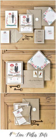 Eco wedding invitations with Bride & Groom pattern - simple & cute ! #weddingideas #wedding #boho #bohemian #bride #groom #weddinginspiration #ecofriendly #eco #calligraphy