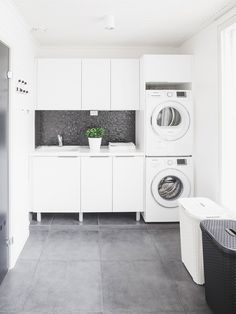 modern laundry room design, modern laundry room organization, laundry room cabinets with sink and open shelves and tile floor, laundry in mudroom design Laundry Room Tile, Modern Laundry Rooms, Room Tiles, Laundry Room Cabinets, Laundry Cupboard, White Laundry Rooms, Linen Cupboard, Interior Design Living Room, Living Room Designs
