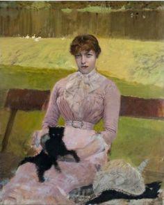 "Giuseppe Gaetano De Nittis (Italian, 1846-1884) - ""Signora con un gattino nero"" (Lady with a black kitten), 1882 - Oil on canvas"
