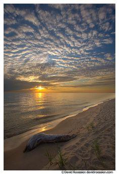 Beautiful sunset over Lake Michigan near Grand Haven Michigan