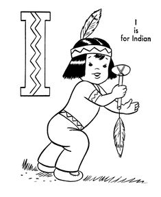 ABC Coloring Activity Sheet   Indian Boy - Characters coloring page