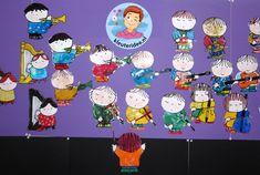 Orkest knutselen met kleuters , thema muziek, kleuteridee.nl Kindergarten Music, Wolf, Family Guy, Fictional Characters, Theater, Mardi Gras, Musica, Animaux, Kunst