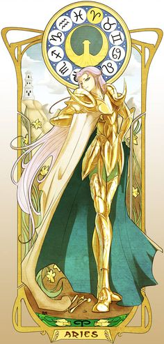 Mucha Style Aries no Mu by Edheloth on DeviantArt Aries Art, Zodiac Art, Aries Zodiac, Sagittarius, Anime Saint, Aries Wallpaper, Knights Of The Zodiac, Poses References, Animation