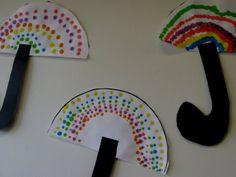 Spring umbrella paintings: polka-dots of happy colors -- each unique!