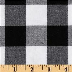 "Woven 1'' Cotton Carolina Gingham Black/White $8.98/yard  From Kaufman, oven yarn dyed gingham fabric.  Medium weight; 44"" wide"