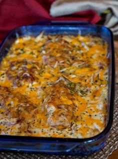 Creamy Cheesy Potatoes with Chicken Breasts. Turn this yummy side dish into a main dish: layer in Browned Chicken Breasts, Browned Pork Chops or thick slices of ham! If you need a side dish: just use potatoes, and leave out the meat.