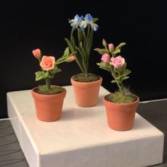 DOLLHOUSE Spring 1:12 Miniature PURPLE Iris Potted in Aged Terra Cotta Pot