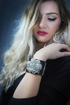 Stunning Chanel Swarovski Crystle Flower Bracelet Cuff $1499
