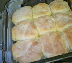 7-Up Biscuits  2 cups Bisquick  1/2 cup sour cream  1/2 cup 7-up  1/4 cup melted butter    Preheat oven to 450.  Cut sour cream into biscuit mix, add 7-Up. Makes a very soft dough.  Sprinkle additional biscuit mix on board or table and pat dough out. Melt 1/4 cup butter in a 9 inch square pan.  Place cut biscuits in pan and bake for 12-15 minutes or until golden brown.