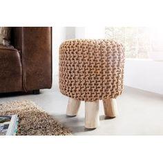 Tabouret de 45cm tricoté en coton avec piétement en bois coloris café