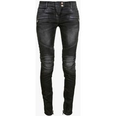 Balmain Vintage denim ribbed biker jeans ($1,140) ❤ liked on Polyvore featuring jeans, pants, bottoms, grey, grey jeans, zipper denim jeans, zipper jeans, balmain jeans and balmain