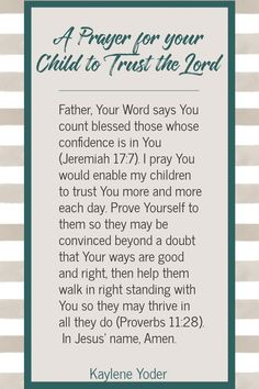 Is your desire for your child to trust the Lord and develop deep roots of faith? Let this Scripture prayer for your child's faith help you surrender your child's future and heart to the Lord. || Kaylene Yoder Prayer For My Marriage, Kids Prayer, Prayer For Parents, Praying For Your Children, Prayer For Peace, Prayer For The Day, Prayers For Children, Night Prayer, Prayer For Family