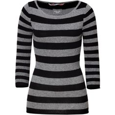 DEAR CASHMERE Black/Grey Striped 3/4 Sleeve Cashmere-Blend Carmen... ($152) ❤ liked on Polyvore featuring tops, sweaters, shirts, blusas, long sleeves, grey sweaters, gray long sleeve shirt, long-sleeve crop tops, slim fit shirts and long sleeve pullover