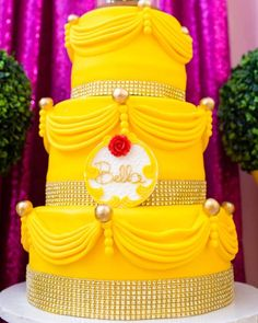 Stunning cake at a Beauty & the Beast birthday party! See more party ideas at CatchMyParty.com!
