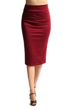 Below the Knee Pencil Solid Color Skirt (Burgundy) – Niobe Clothing
