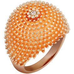 Cartier Pink Gold and Diamond Cactus de Cartier Ring ($6,885) ❤ liked on Polyvore featuring jewelry, rings, cartier jewelry, 18 karat gold ring, cartier ring, red gold ring and rose gold cocktail ring