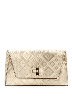 DVF 440 Gallery Uptown Basketweave Leather Clutch