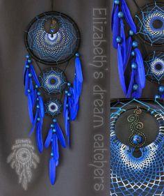 Atrapasueños atrapasueños azul plumas tejidas a mano Blue