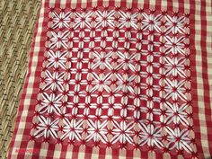 chicken scratch on red and white gingham