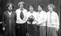 1920's 1924 Chicago  Bowling Team wearing white Middy tops, ties, and pleated skirts