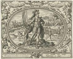 Gerard P. Groenning | De mens op dertigjarige leeftijd, Gerard P. Groenning, 1569 - 1575 | In een ovaal kader versierd met ornamenten een voorstelling van een volwassen man in wapenrusting. In zijn handen een vaandel. Op de achtergrond rechts een legerkamp en enkele mannen die een balspel spelen. Op de achtergrond links een zakkensjouwer en een handelsstad. De prent heeft een Latijns en Frans onderschrift.