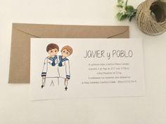 Javier y Pablo son más que amigos, y su papis celebran la Comunión juntos así que esta invitación es doble :) #invitacionespersonalizadas #comuniones #recordatorios #detallespersonalizados