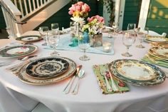 mix match china from thrift stores.    use as my wedding china after wedding. save the best pieces and donate the rest