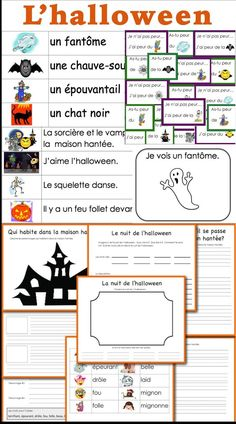 Voici un jeu, une liste de mots des phrases lire et une histoire Halloween is coming! Here is a game, an illustrated word wall, sentences to read and a story to write. Halloween Vocabulary, Halloween Worksheets, Halloween Activities, Study French, Core French, French Teaching Resources, Teaching French, How To Speak French, Learn French