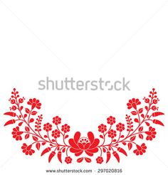 Hungarian red floral folk pattern - Kalocsai embroidery with flowers and paprika  - stock vector