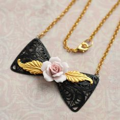 Pink Rose Necklace Bowtie Filigree Black and Gold Victorian Jewelry by Renee Hong of jewelryfineanddandy