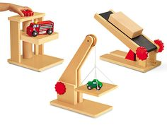 Block Play Simple Machines - Complete Set at Lakeshore Learning Wooden Ramp, Building Toys For Kids, Block Play, Lakeshore Learning, Woodworking For Kids, Simple Machines, Basic Math, Wooden Blocks, Pulley