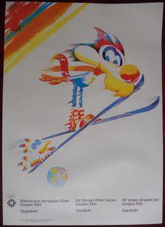 1984 Original Poster Sarajevo Winter Olympic Games Ski Jumping Skiing Vucko Yu | eBay