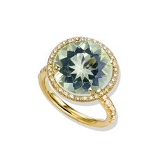 Colored Stone Engagement Ring: Twinkle Twinkle Green Quartz and Diamond Ring (style RF701)