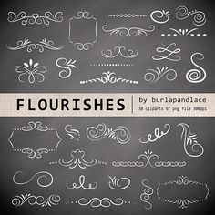 ❤ Hand Drawn flourishes clipart, Digital clipart frames, ornaments and elements digital, Hand Drawn Vintage Style, instant download Graphic Design, wedding clipart, clipart, digital frames,