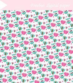 Butterfly-Owl digital paper freebie by My Owl Barn                                                                                                                                                                                 More
