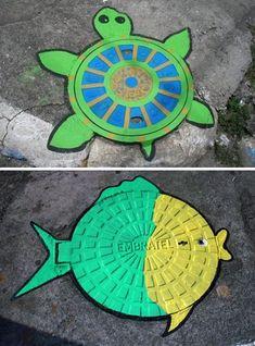 Arte creativo en las tapas de las alcantarillas. | Rincón Abstracto