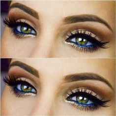 Brown smoky eye-shadow with blue eyeliner on waterline. Pretty. Makeup.
