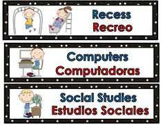 Bilingual schedule cardsSchedule Cards in English and Spanish  This is a set of 42 schedule cards for the bilingual or two-way dual language classroom. Spanish words and in red and English words in blue. There is also and additional set of 12 editable cards. You can use them on your board, wall or pocket chart.