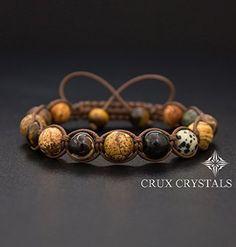 Sahara, Men's Gemstone Shamballa Natural Stone Wrap Bracelet, Beaded Bracelet, Gift for Him, Tiger's Eye, Picture Jasper, Agate, Macrame Bracelet Crux Crystals *** You can find more details by visiting the image link.