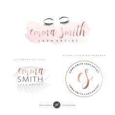 Eye Lash Logo Design Extension Salon Boutique Make Up Artist Premade Branding Kit Watermark Blog Pink Gold 89