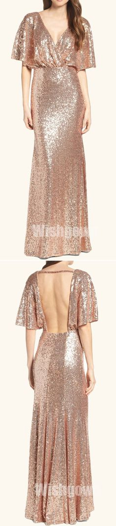 Backless Fashion Half Sleeves Mermaid Sexy Sequin Long Prom Bridesmaid Dresses, WG461 #bridesmaids #weddingpartydress