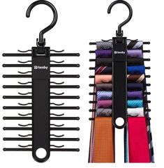 Tie Rack Hanger with Non-Slip Clips - Hangorize Belt Rack, Tie Rack, Belt Hanger, Hanger Hooks, Hangers, Mode Masculine, Mens Closet Organization, Wardrobe Organisation, Organization Hacks